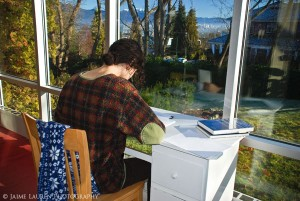 The sunroom is a popular studying location with its beautiful eastern view of Vancouver