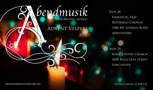 Abendmusik Advent Vespers November 2015