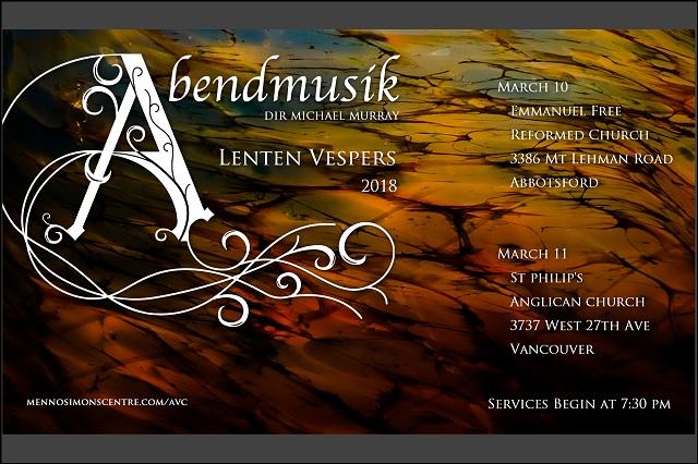 Abendmusik Vesper Choir - Lent 2018 postcard