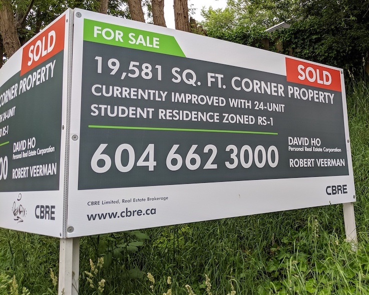 Menno Simons Centre sold real estate sign by CBRE Vancouver